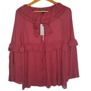 Romeo + Juliet Coture Ruffle Burgundy Top Small